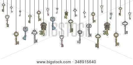 Collection Of Vintage Keys In Sketch Style Hanging Vector Banner Illustration. Keys To Lock And Unlo