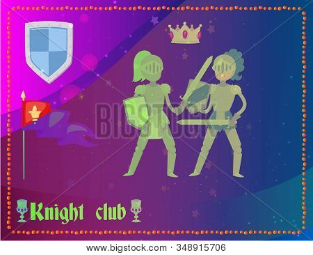 Cartoon Knights In Full Armor Fighting Club, Flag, Crown And Emblem In Background, Vector Illustrati