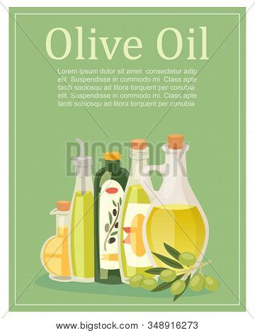 Olive Oil Glass Pitchers, Bottles And Jugs With Green Olives And Typography Poster Vector Illustrati