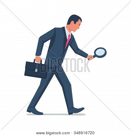 Businessman With A Magnifying Glass Follows The Trail. Search For The Loss. Look Through A Lupe. Vec