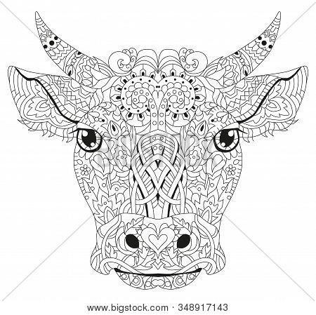 Patterned Head Of The Bull, Vector Illustration In Zentangle Style.