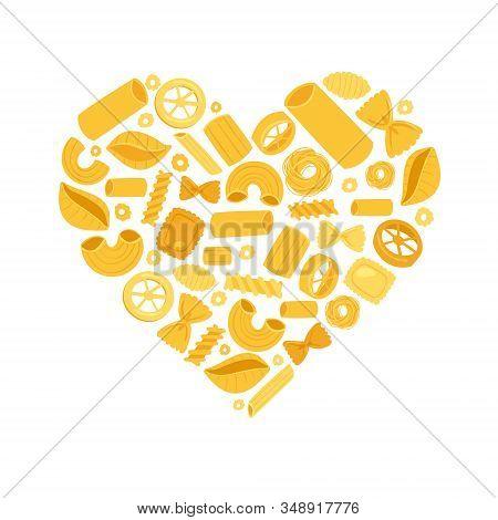 Italian Pasta Heart From Different Types Fusilli, Spaghetti And Rigatoni, Ravioli Isolated On White