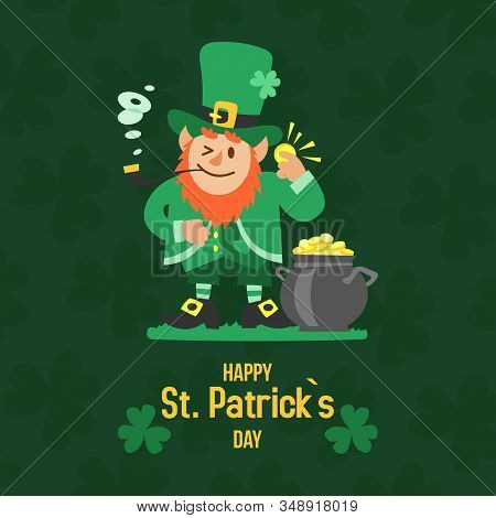 Saint Patricks Day With Treasure Of Leprechaun Vector Illustration. Pot Full Of Golden Coins, Leprec