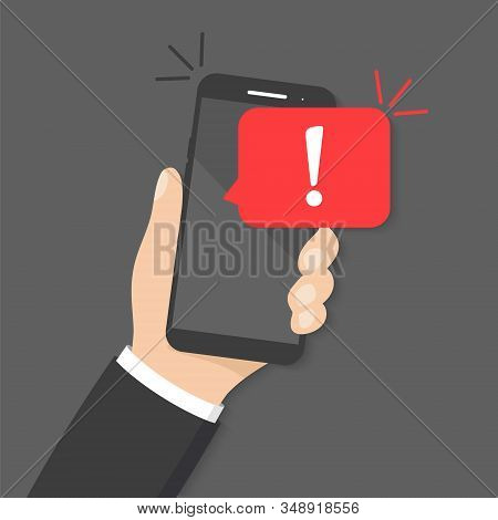 Hands Holding Smartphone With Alert Warning Of Spam Data, Insecure Connection, Virus, Scam. Danger E