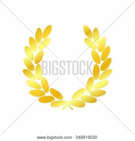 Gold Laurel Wreath Icon. Luxury Emblem For Winner. Symbol Of Victory, Triumph And Success. Golden Aw