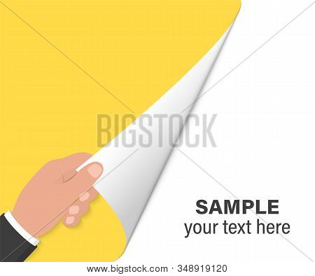 Hand Turns Page On White Background. Hand Turning Empty Page. Close Up Of Hand Turning The Blank Pag