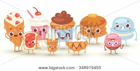 Group Of Lovely Baby Sweet And Dessert Doodle Icon Kawaii Vector Illustration. Cute Cake, Adorable C