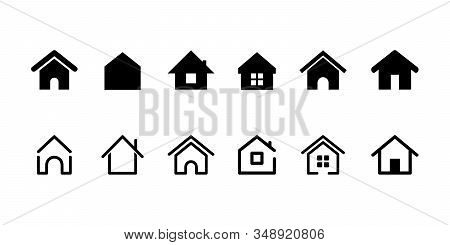 Home Button. Home Page. Collection Of Home Icons. Vector Web Home Icon, Building Symbol. House
