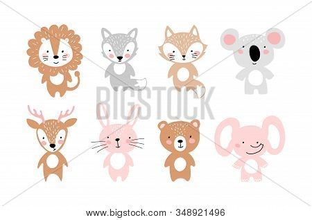 Set Of Simple Cute Animals For Invitation, Party, Nursery, Baby Shower. Bear, Fox, Wolf, Koala, Lion