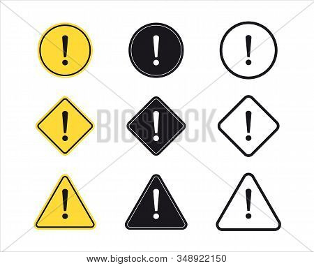 Set Of Exclamation Mark Symbol. Attention Sign. Danger Sign, Warning Sign. Hazard Warning Symbol.