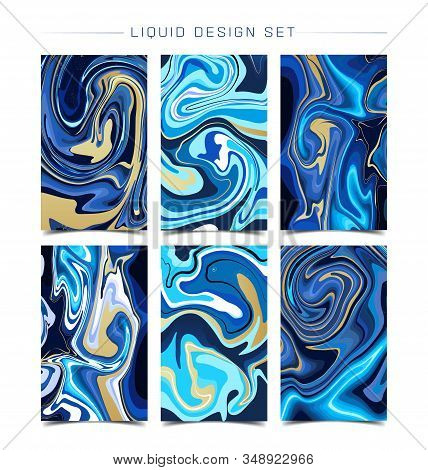 Mixture Of Acrylic Paints. Liquid Marble Texture Set. Fluid Art. Applicable For Design Cover, Presen