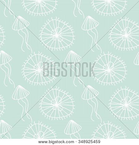 A Seamless Vector Pattern With White Doodle Jellifish On A Pastel Aqua Blue Background. Ocean Themed