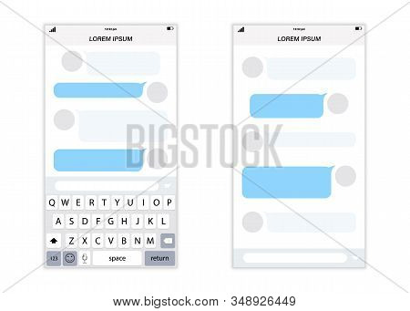 Messenger Concept Frame. Social Network Messenger Page Template. Chat App Template Whith Mobile Keyb