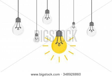 Hanging Light Bulbs With Glowing One Vector Illustration For Your Design. Trendy Flat Vector Light B