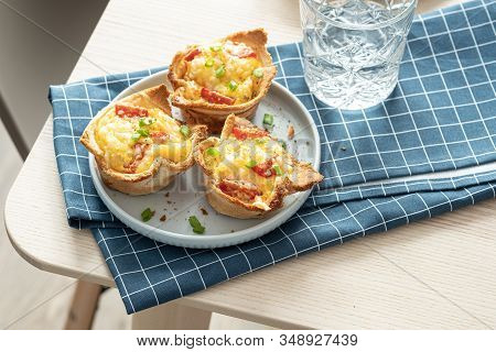 Baked Egg, Ham, Tomato And Toast Cup For Breakfast Brunch.