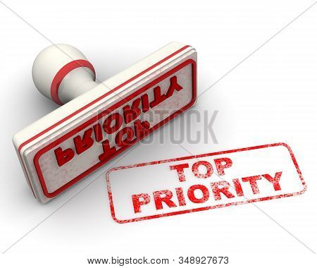 Top Priority. The Seal. The White Seal And Red Imprint Top Priority On White Surface. 3d Illustratio