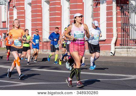 St. Petersburg, Russia - June 30, 2019: 30th International Marathon - White Nights. Marathon Girls.