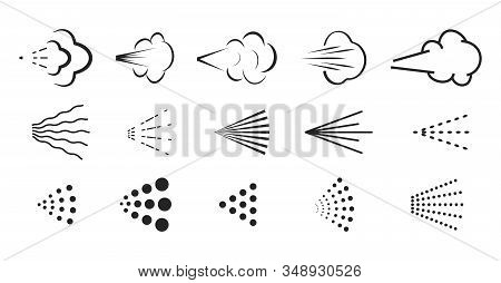 Spray Vector Icon. Spray Icons Set Of Water Or Air Sprayer Nozzle For Paint Aerosol Or Deodorant Spr
