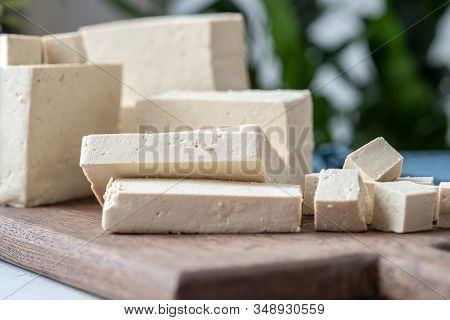 Soy Cheese Tofu Diced On A Cutting Board