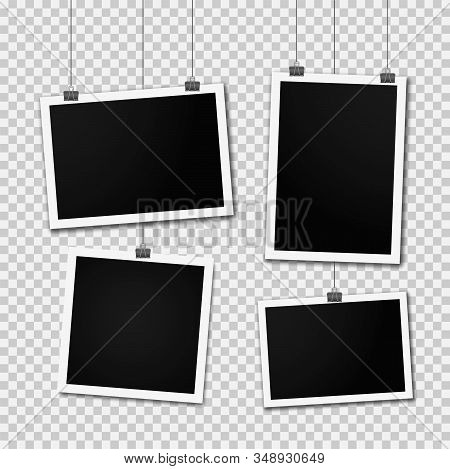 Retro Photo Frame Templates Hanging On Wall. Set Of Realistic Blank Photo Card. Vertical And Horizon