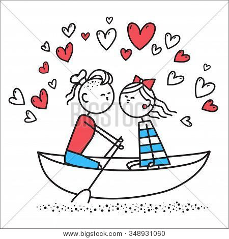 Lovers Boy And Girl Sit On Boat And Kiss. Boy And Girl Swim On River In Boat. Valentines Day Illustr