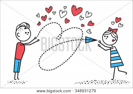 Boy In Love Sends Girl Love Letter In Form Of Airplane. Valentines Day. Illusration For Valentines D