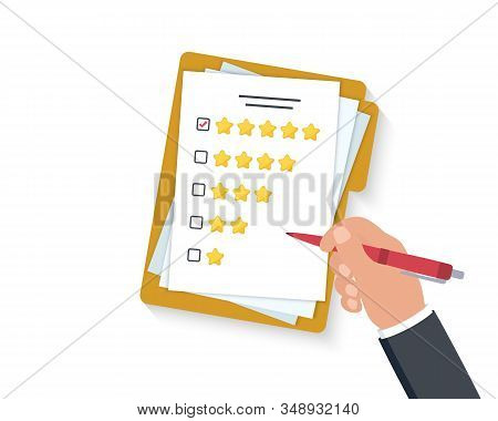 Customer Satisfaction. Hand Holding Clipboard With Rating Stars And Pen. Green Check Mark On Five St