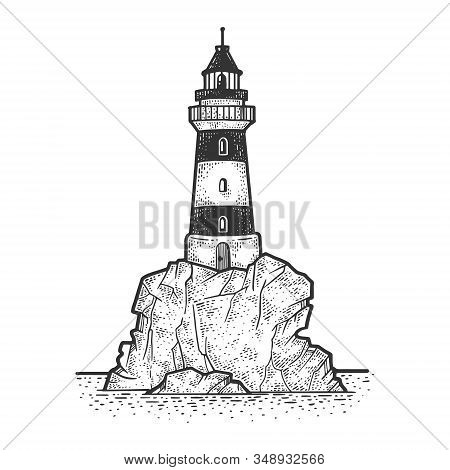 Lighthouse On Rock Cliff Sketch Engraving Vector Illustration. T-shirt Apparel Print Design. Scratch