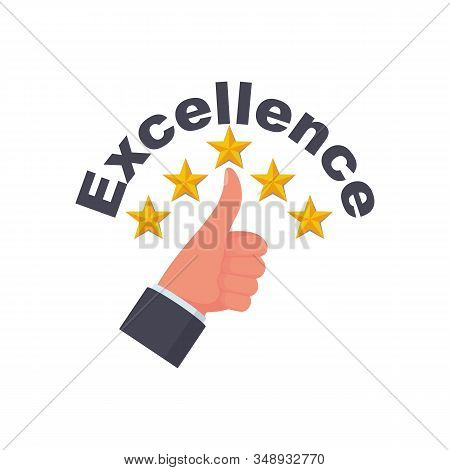Excellence Concept. Star Rating. Vector Illustration Flat Design. Isolated On White Background. Qual