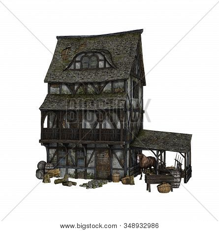 Detailed Reconstruction Of A Medieval House Isolated On White Background, 3d Render.