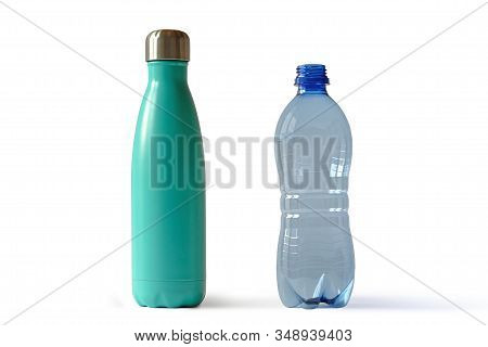 Aluminium Stainless Thermo Bottle And Plastic Water Bottle On White Background - Concept Of Ecology