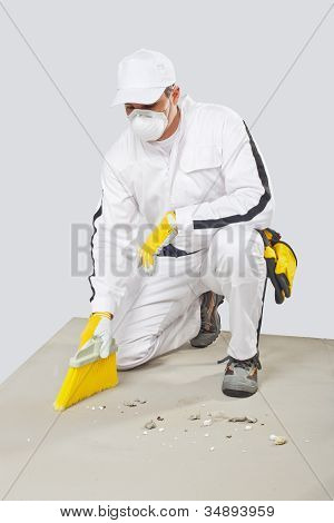 Worker Clean Cement Base With Brush-broom
