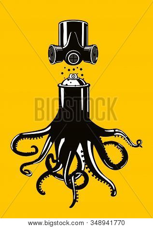 Graffiti Spray Can With Octopus Tentacles. Vector Poster With Spraycan. Art Background. Tshirt Appar