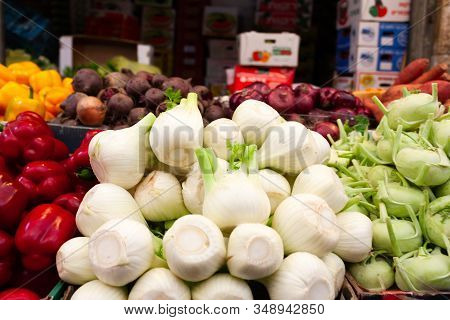 Various Vegetables And Fennel In The Center, Laid Out On A Counter On A Counter At The Mahan Yehuda