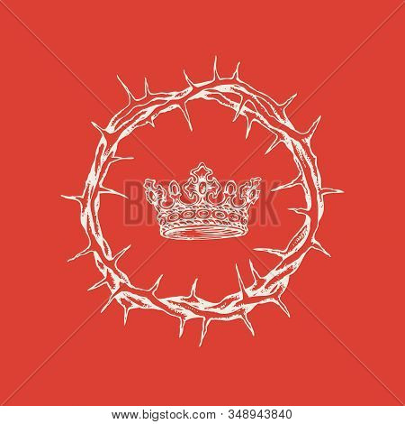 Vector Religious Banner On The Theme Of Easter With A Crown Of Thorns And A Crown On A Red Backgroun