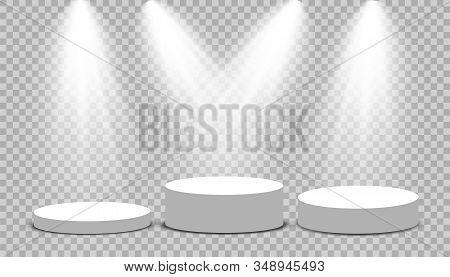 Round Podium, Pedestal Or Platform Illuminated By Spotlights On Transparent Background. Platform For