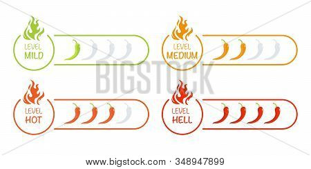 Set Of Indicator With Pepper Strength Mild, Medium, Hot And Hell. Vector Illustration