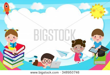 Back To School, Cute School Kids, Education Concept, Children On The Rainbow, Template For Advertisi