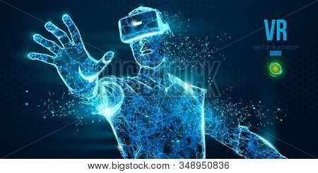 Vr Headset Holographic Low Poly Wireframe Vector Banner. Polygonal Man Wearing Virtual Reality Glass