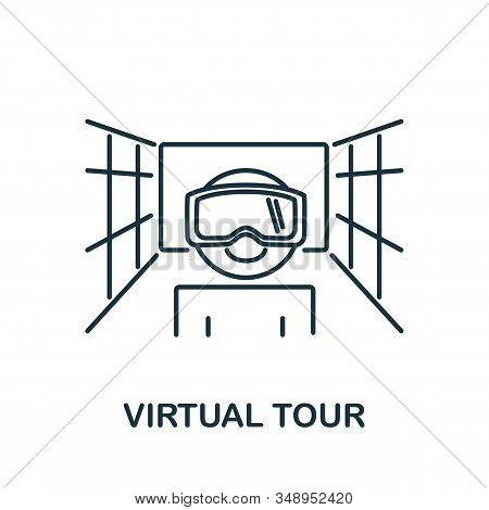 Virtual Tour Icon From Augmented Reality Collection. Simple Line Element Virtual Tour Symbol For Tem