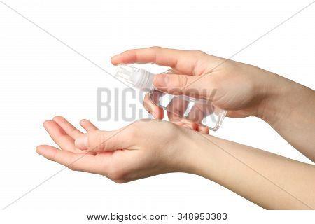Hand Holding Antiseptic Antibacterial Disinfectant Isolated On White Background. Coronavirus Protect