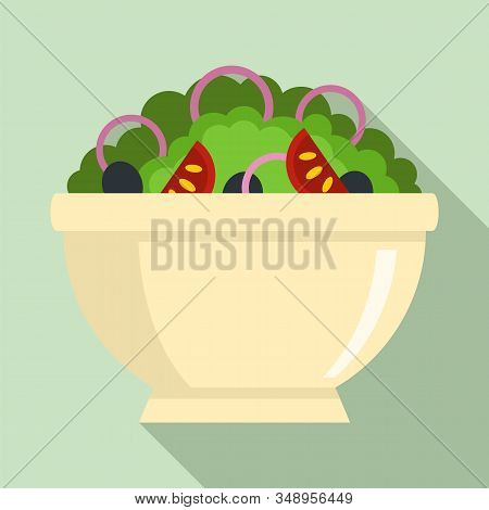 Greek Salad Bowl Icon. Flat Illustration Of Greek Salad Bowl Vector Icon For Web Design
