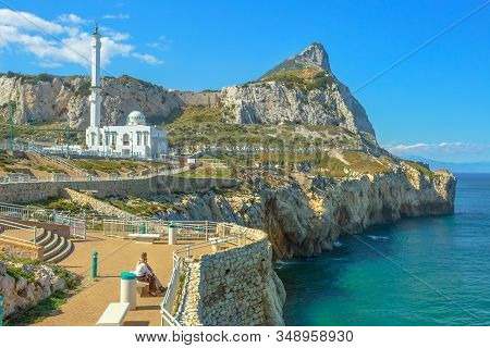 Gibraltar, United Kingdom - April 24, 2016: Europa Point With Ibrahim-al-ibrahim Mosque And The Prof