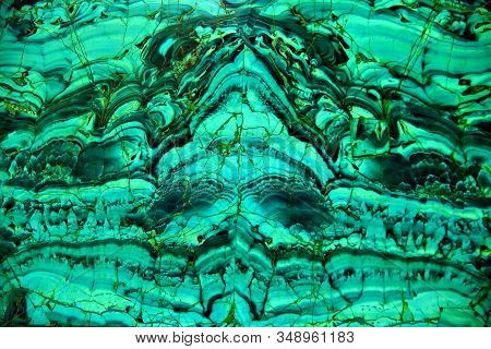 Malachite Green Mineral Texture. Amazing Polished Natural Slab Of Green Malachite Mineral Gemstone,