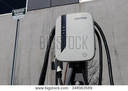 Muncie - Circa February 2020: Leviton Ev Charging Station. The Leviton Charging Station Offers Fast