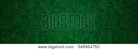 Green Patrick Day Greeting Banner With Green Clovers, Beer Mug, Beer Bottle, Horseshoe, Hat, Pipe. P