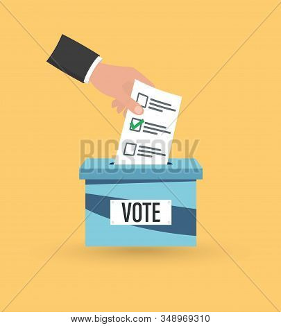 Hand Putting Voting Paper In The Ballot Box. Voting Concept. Casting His Vote Into Ballot Box. Votin