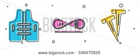 Set Life Jacket, Skateboard Trick And Pegs For Tents Icon. Vector