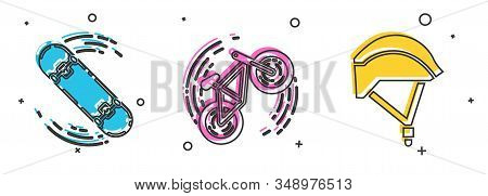 Set Skateboard Trick, Bicycle Trick And Bicycle Helmet Icon. Vector