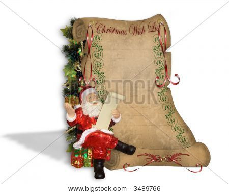 Wish List For Santa On Old Parchment Scroll